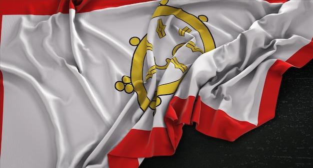 Bandeira sikkim enrugada no fundo escuro 3d render