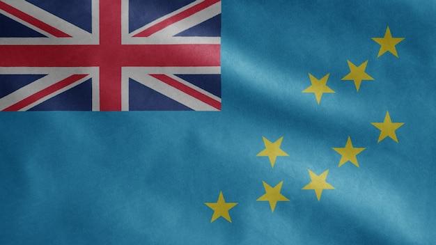 Bandeira tuvaluana balançando ao vento. molde tuvalu soprado, seda macia e lisa. fundo de estandarte de textura de tecido de pano. use-o para o dia nacional e o conceito de ocasiões do país.