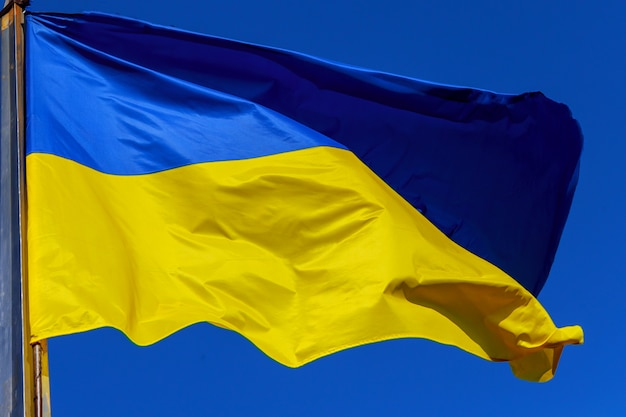 Bandeira ucraniana ao vento contra o céu