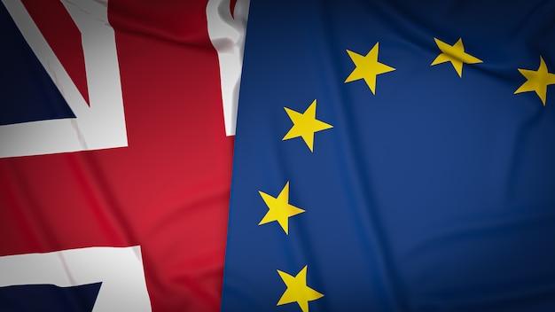 Bandeira union jack e a bandeira do euro para segundo plano. renderização 3d