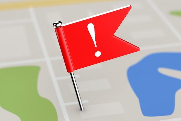 Bandeira vermelha com ponto de exclamação no mapa plano de fundo closeup extrema. renderização 3d