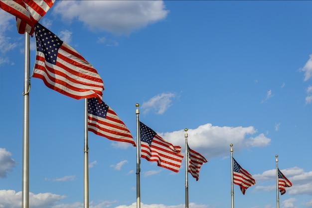 Bandeiras americanas do monumento de washington no distrito de columbia dc eua