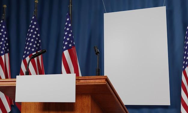 Bandeiras americanas e pódio com cartaz em branco para as eleições americanas