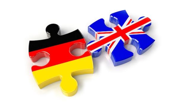 Bandeiras da alemanha e do reino unido em peças do puzzle. conceito de relacionamento político. renderização 3d