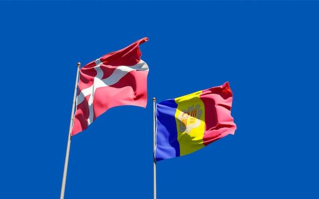 Bandeiras da dinamarca e andorra. arte 3d