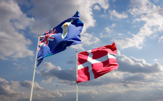 Bandeiras da dinamarca e anguila. arte 3d