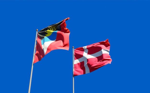 Bandeiras da dinamarca e antígua e barbuda