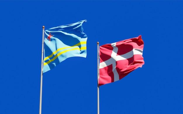 Bandeiras da dinamarca e aruba.