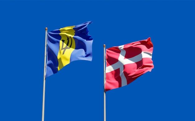 Bandeiras da dinamarca e barbados.