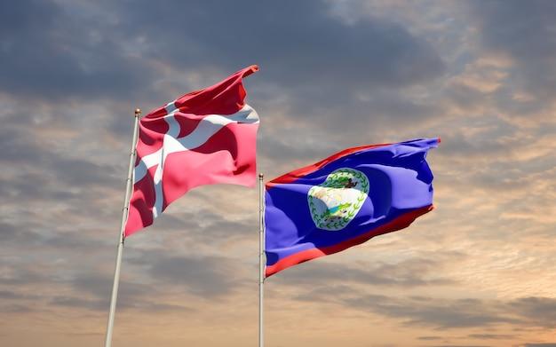 Bandeiras da dinamarca e belieze.