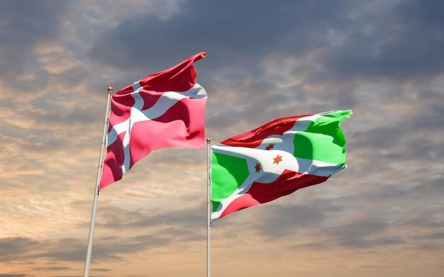 Bandeiras da dinamarca e burundi