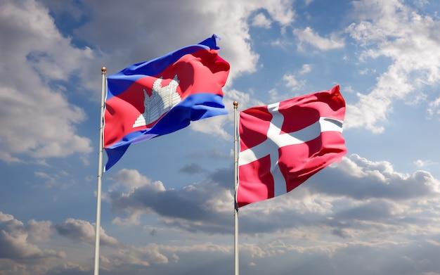 Bandeiras da dinamarca e camboja