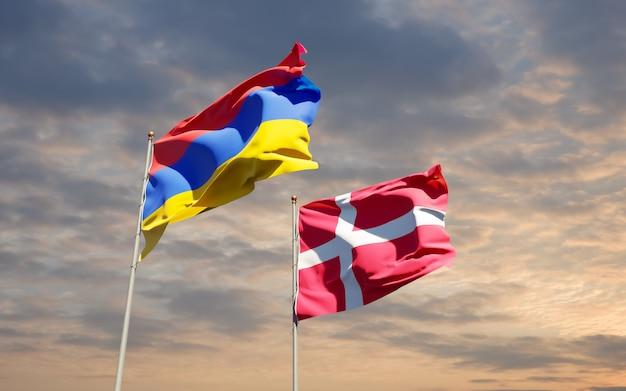 Bandeiras da dinamarca e da armênia. arte 3d