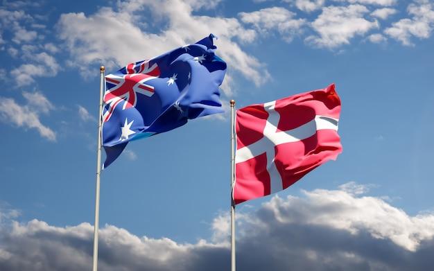 Bandeiras da dinamarca e da austrália. arte 3d