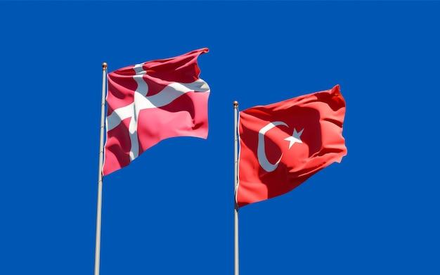 Bandeiras da dinamarca e da dinamarca. arte 3d