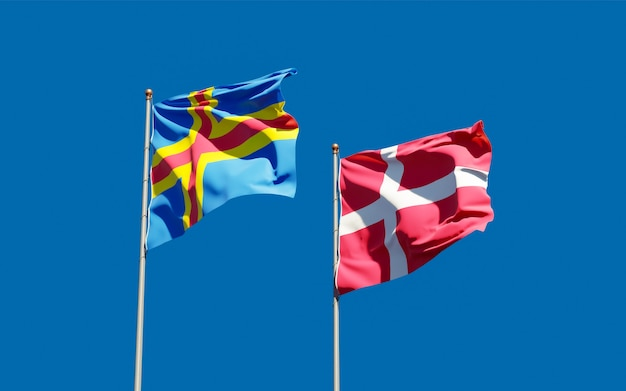 Bandeiras da dinamarca e das ilhas aland