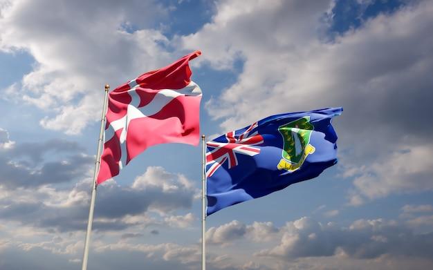 Bandeiras da dinamarca e das ilhas virgens britânicas