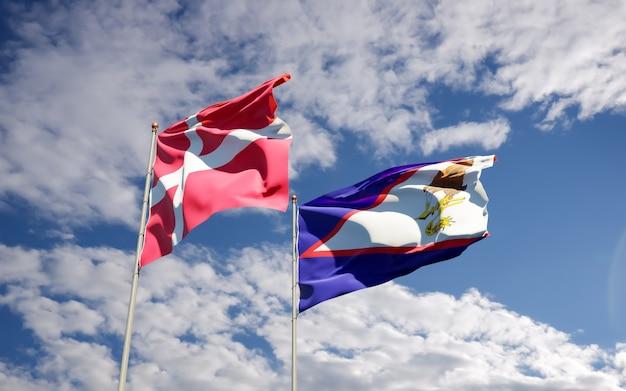 Bandeiras da dinamarca e samoa americana