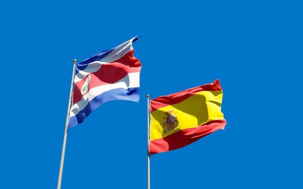 Bandeiras da espanha e costa rica.