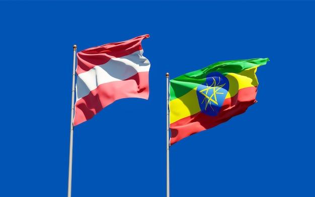 Bandeiras da etiópia e da áustria. arte 3d