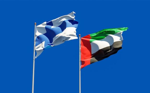 Bandeiras da finlândia e dos emirados árabes unidos