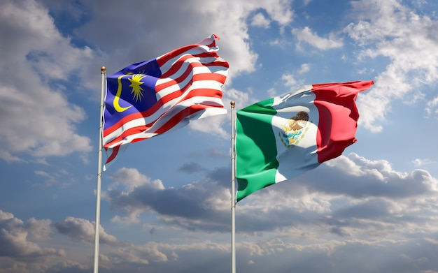 Bandeiras da malásia e do méxico. arte 3d