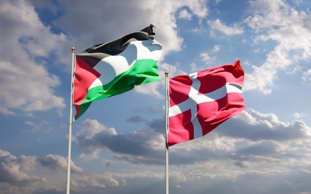 Bandeiras da palestina e da dinamarca.