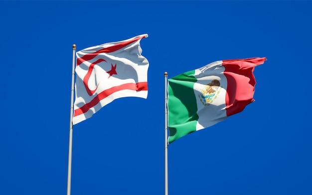 Bandeiras da república turca do norte de chipre e do méxico. arte 3d