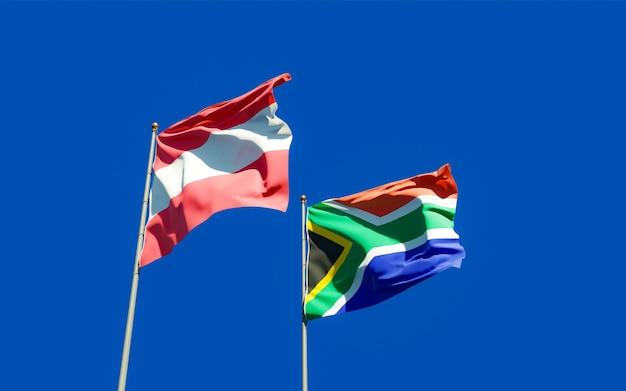 Bandeiras da sar africana e da áustria. arte 3d