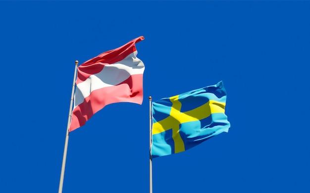 Bandeiras da suécia e da áustria.