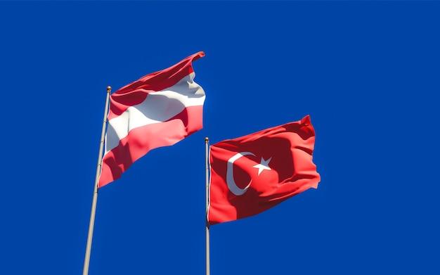 Bandeiras da turquia e da áustria. arte 3d