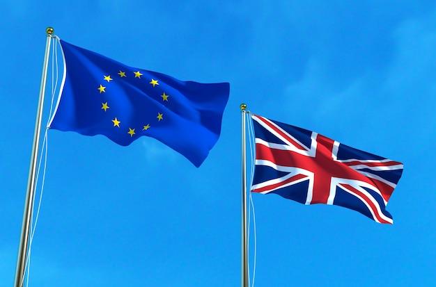 Bandeiras da ue e do reino unido sobre o fundo do céu azul