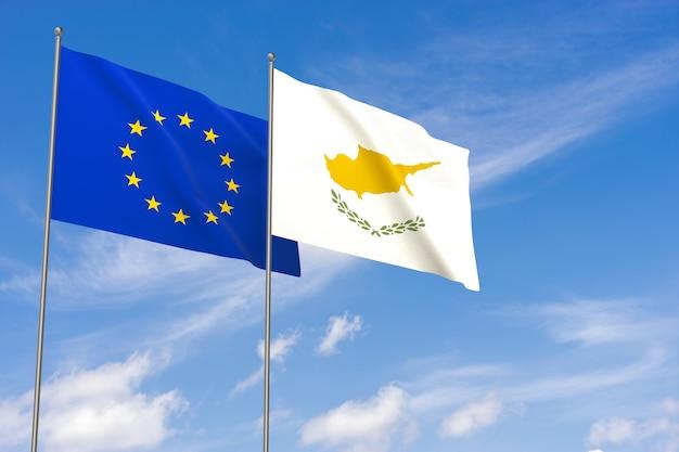 Bandeiras da união europeia e chipre sobre o fundo do céu azul. ilustração 3d
