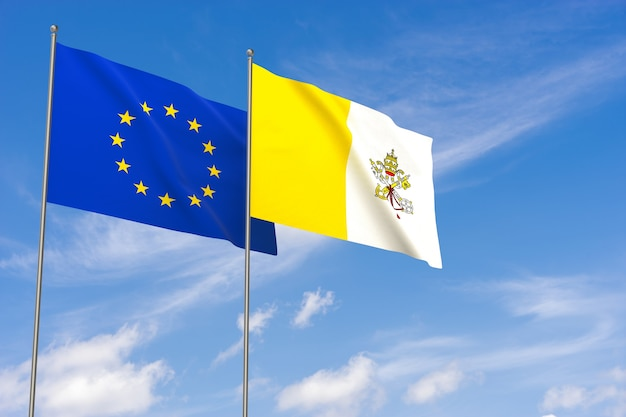 Bandeiras da união europeia e da cidade do vaticano sobre o fundo do céu azul. ilustração 3d