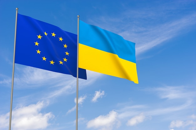 Bandeiras da união europeia e da ucrânia sobre o fundo do céu azul. ilustração 3d