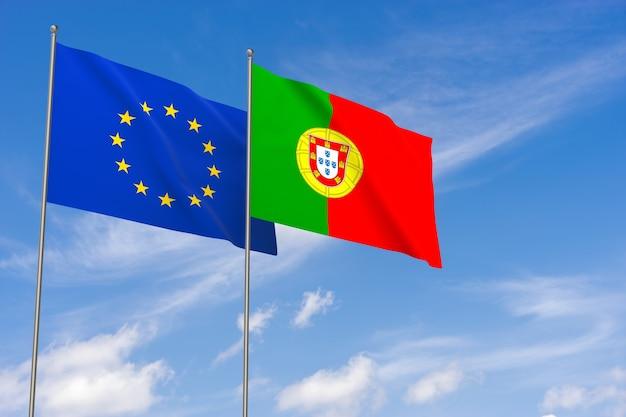 Bandeiras da união europeia e portugal sobre o fundo do céu azul. ilustração 3d