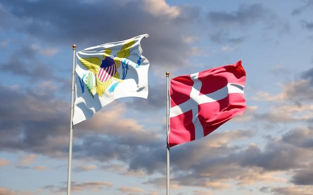 Bandeiras das ilhas virgens dos estados unidos e da dinamarca. arte 3d
