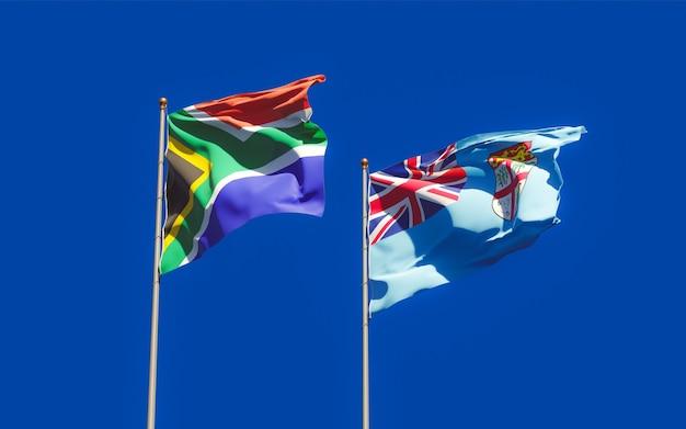 Bandeiras de fiji e da rae africana. arte 3d