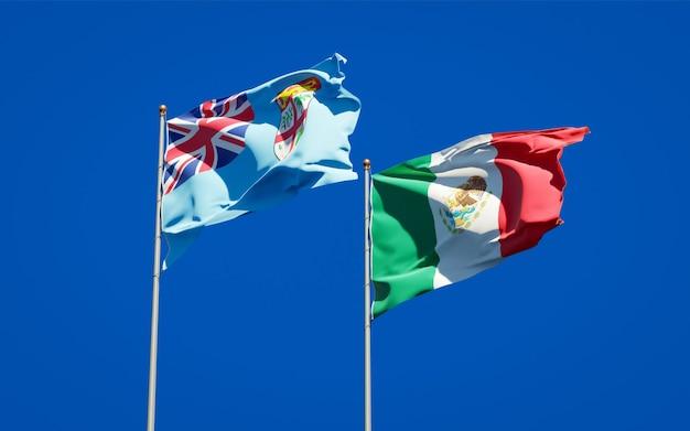 Bandeiras de fiji e do méxico. arte 3d