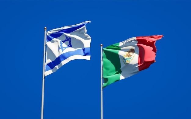 Bandeiras de israel e do méxico. arte 3d