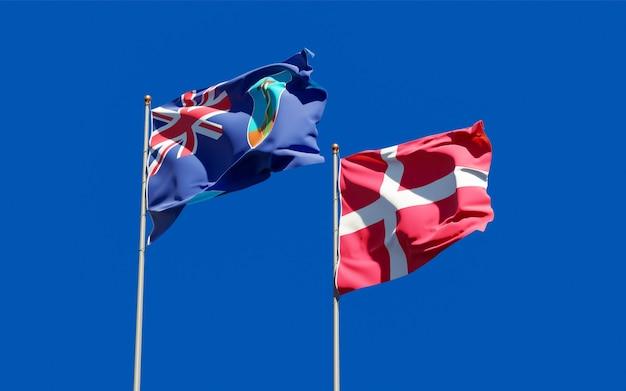 Bandeiras de montserrat e dinamarca.