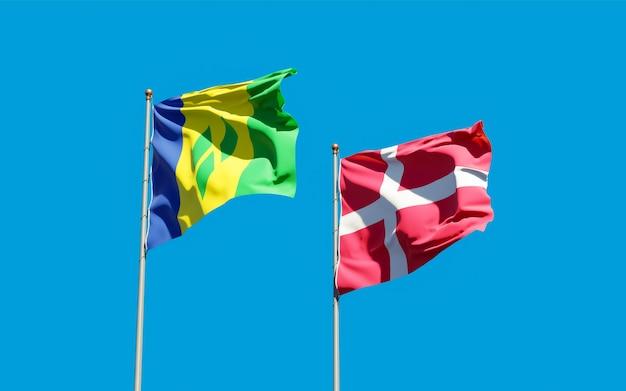 Bandeiras de são vicente e granadinas e dinamarca.