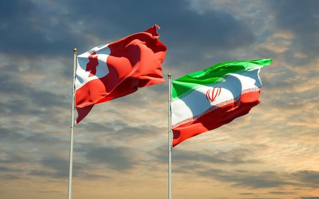 Bandeiras de tonga e irã. arte 3d