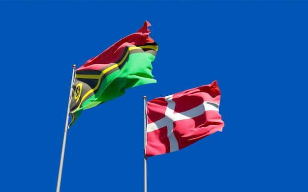 Bandeiras de vanuatu e dinamarca. arte 3d