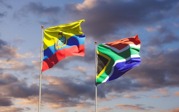 Bandeiras do equador e da sar africana. arte 3d