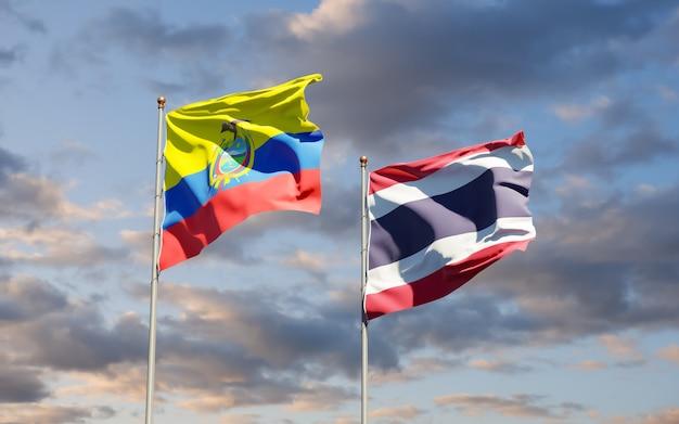 Bandeiras do equador e da tailândia. arte 3d