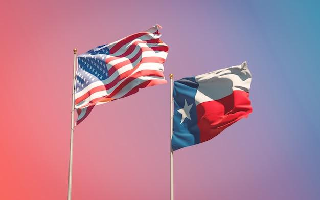 Bandeiras do estado do texas nos eua em céu gradiente