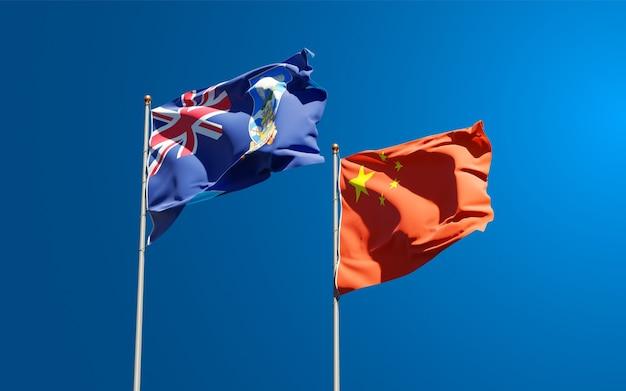 Bandeiras do estado nacional das ilhas malvinas e da china juntas