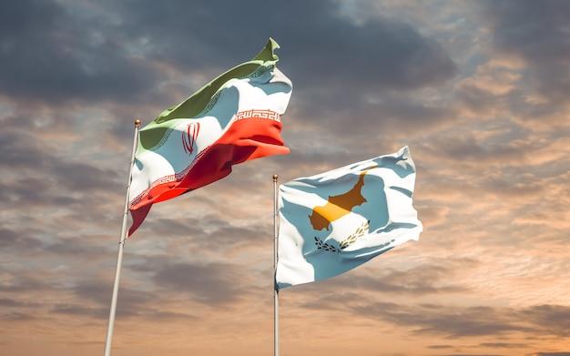 Bandeiras do irã e chipre. arte 3d