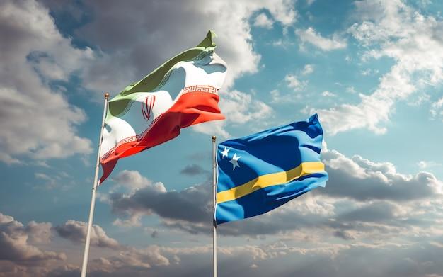 Bandeiras do irã e curaçao. arte 3d
